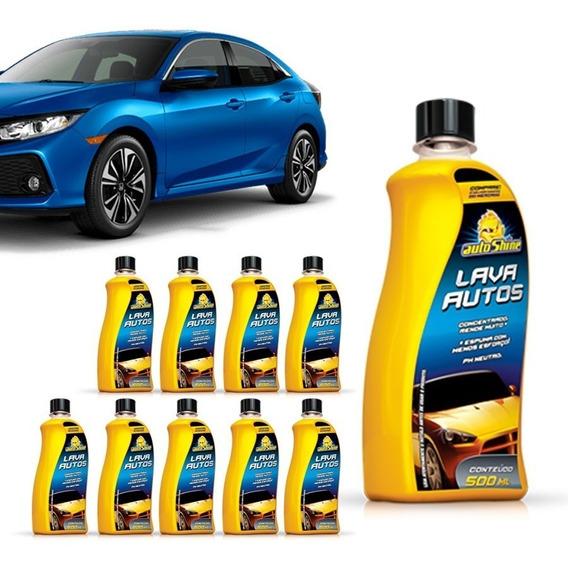 Kit 10 Shampoo Lava Autos Autoshine Brilho 500ml Limpeza