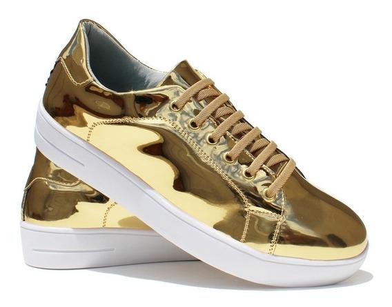 Tênis Feminino Metalizado Dourado Casual Fashion Confortável