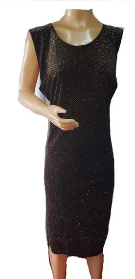 Vestido De Velvet Con Detalles Dorados, Lola, T.6