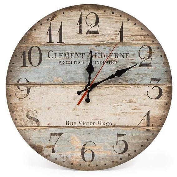 Lohas Home Reloj De Pared Redondo De Madera, Diseño Vintage