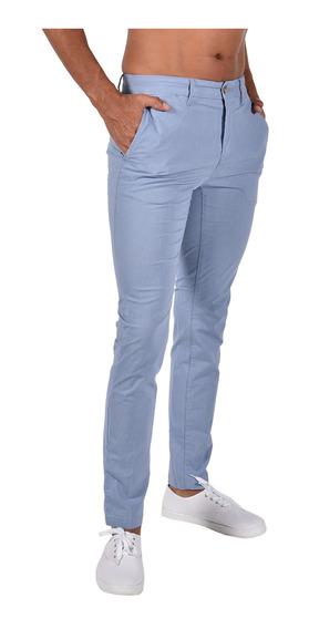 Pantalón Straight Fit Azul Tommy Mw0mw06382428 Hombre