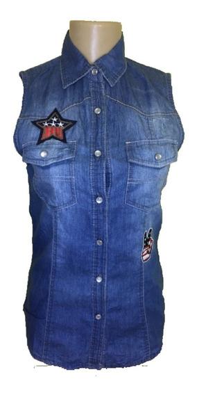 Camisa Regata Feminina Jeans Com Patches