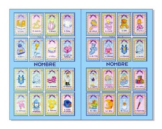 Loteria Baby Shower 30 Tablas Y 54 Cartas Personalizado