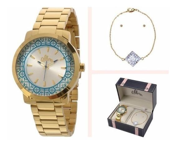 Relógio Allora Kit Feminino Dourado - Al2035eyz/k4k