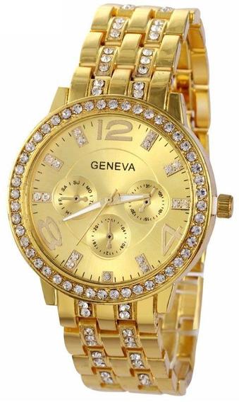 Relógio Feminino Strass E Aço Inox Geneva Original Importado
