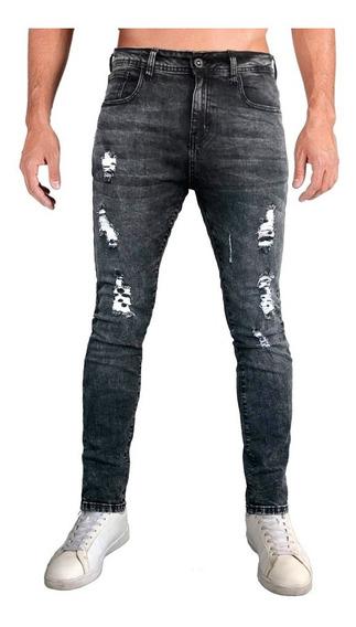 Jeans Pantalón De Mezclilla Stretch Skinny Lavado Acid Wash