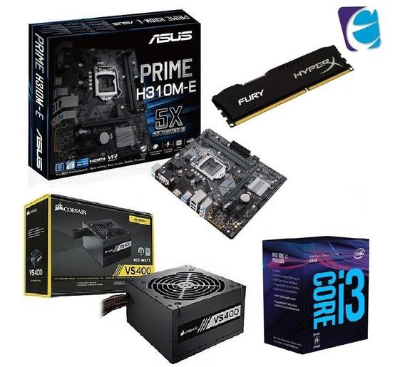 Kit Intel Core I3 8100 Asus H310m E Hyper X 4gb Fury Vs400 I