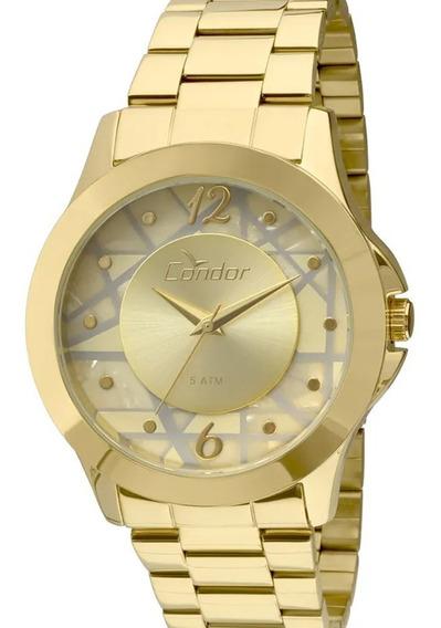 Relógio Feminino Condor Dourado Banhado À Ouro 18k Mosaico Geométrico - Nf
