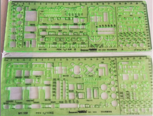 Plantillas Mobiliario Arquitectura Con Escalas 1:200 Y 1:100