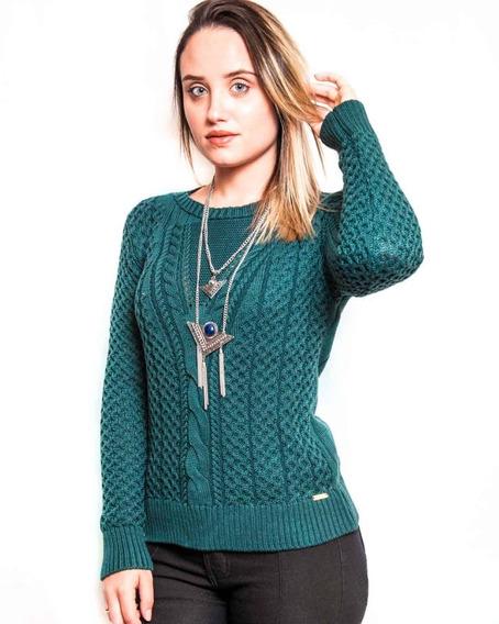 Blusa Tricô Tricot Crochê Abacaxi Trança Malha Frio Inverno