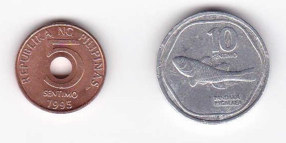 Filipinas 1993 - 1995 Lote 2 Monedas 5 Y 10 Centimos Lx18