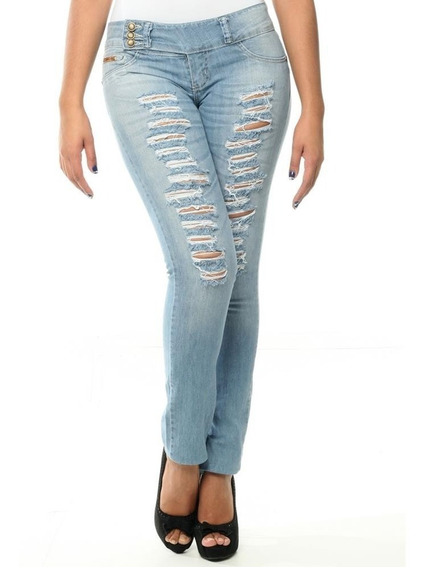 [ Sawary ] Calça Jeans Rasgada Destroyed