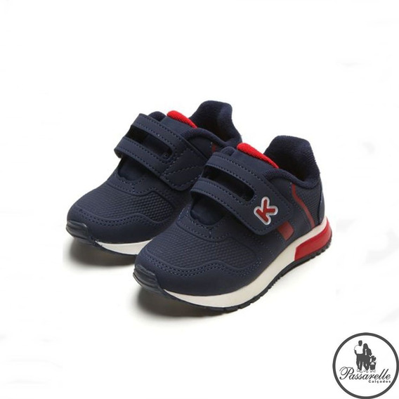 Tênis Meninos Bebê Klin Baby Walk Casual Velcro Azul Escuro