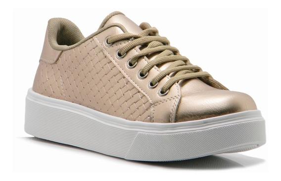 Zapatilla Dorada Blanca Mujer Sneaker Plataforma Hotsale