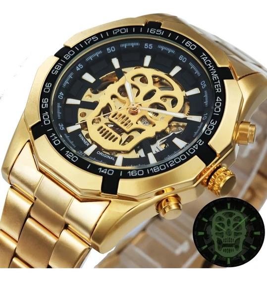 Relógio Masculino Dourado Crânio Pulseira Em Aço
