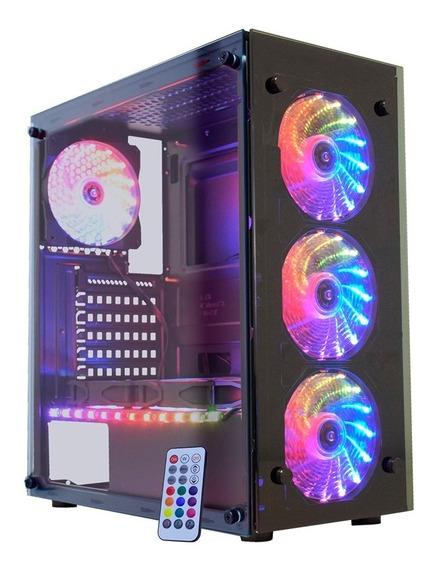 Gabinete Gamer 03n9 Atlantis 3 3xfan Ring + Fita Rgb Rainbow