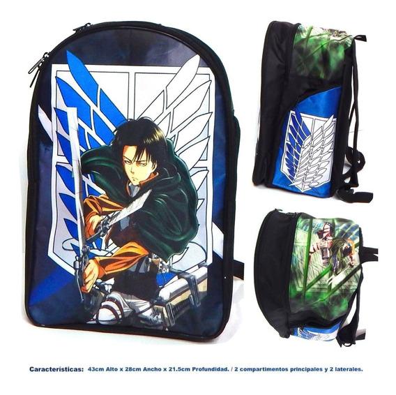 Attack On Titan Mochila Backpack Levi Ackerman Escudo Espada