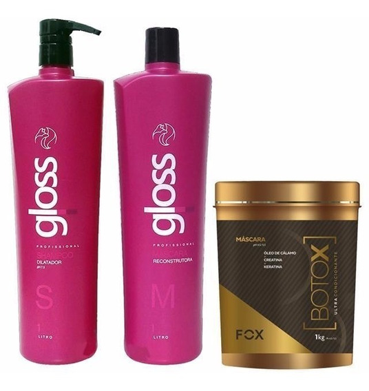 Kit Escova Progressiva Fox Gloss + Btox Ultra 1kg