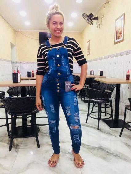 Macacões Jeans Feminino Rasgado Jardineira Macacão