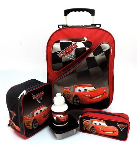 Imagem 1 de 10 de Kit Mochila Infantil Carros Mcqueen 2 Bolsos Rodinhas G F5