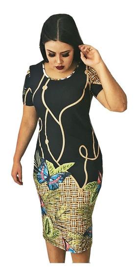 Vestido Midi Tubinho Manga Curta Longuete Estampado Florido