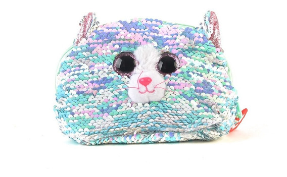 Monedero Ty Animales Lentejuelas 18 Cm Gato Celeste Whimsy