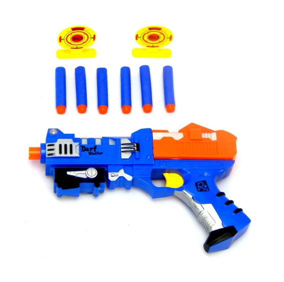 Pistola Lança Dardo Estilo Narf Com 6 Dardo E 2 Alvo X-power