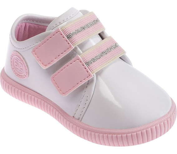 Tênis Infantil Pimpolho Branco E Rosa Com Velcro