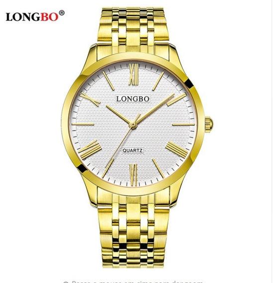 Relógio Longbo Dourado Masculino Analógico Original