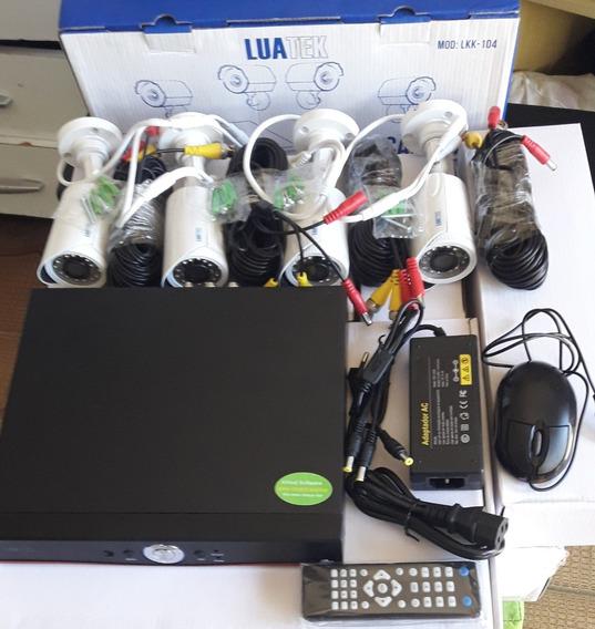 Kit Completo Cftv 4 Cameras Segurança Luatek Acesso Internet