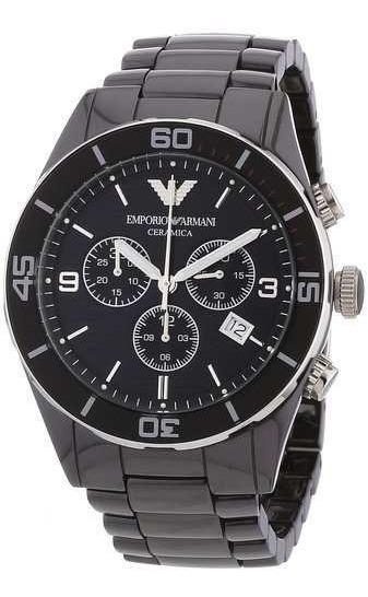 Relogio Armani Ar1421 Cronografo Ceramica Black Original Eua