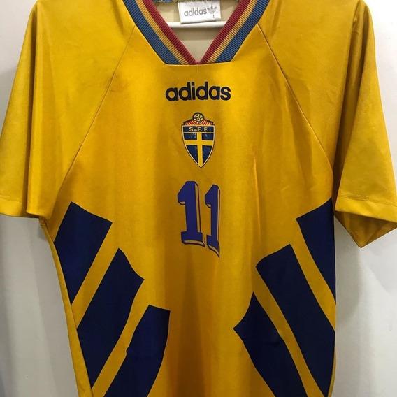 Camiseta De La Selección De Suecia Original De Época Broli