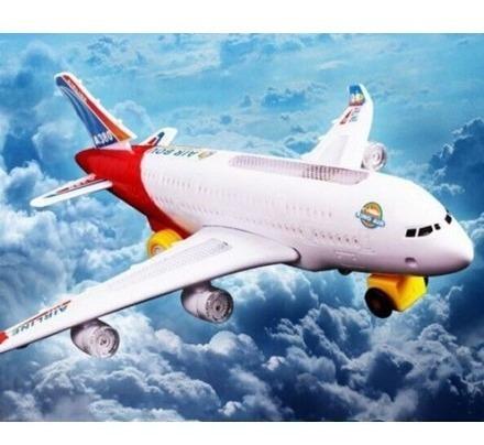 Avião Air Bus Brinquedo 35 Cm, Luzes, Sons E Movimento