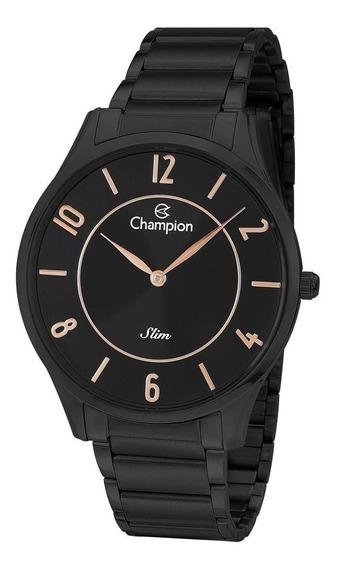 Relógio Champion Masculino Ref: Ca21759p Slim Black