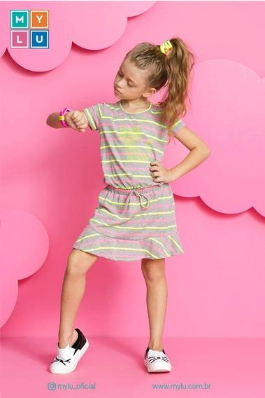 Vestido Malha Listrado Com Termocolantes Mylu