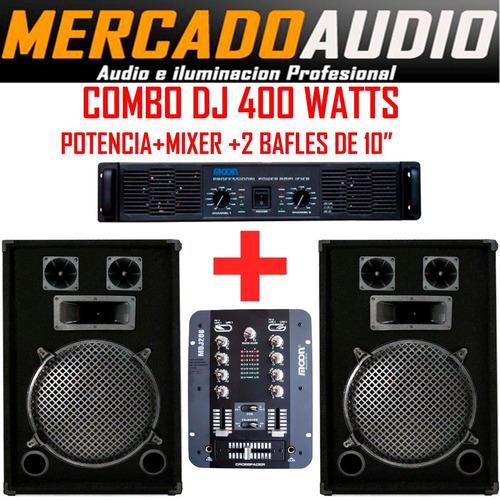 Imagen 1 de 5 de Combo Dj 400 Watts Potencia +mixer+ 2 Bafles 10