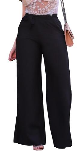 Calça Pantalona De Viscose Estampado Com Elástico Cintura