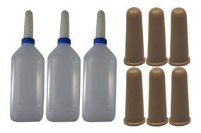3 Mamadeiras Bezerro 2l Bico Silicone + 6 Bicos Pvc Atóxico