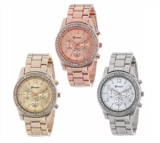 Relógio Feminino Geneva Luxo Pulseira Em Aço Na Caixinha