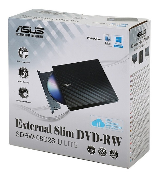 Gravador Externo Cd/dvd Portatil Asus Slim Windows Mac