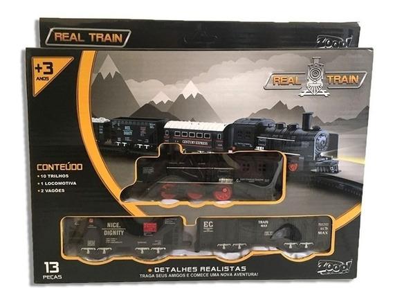 Locomotiva Real Train Zoop Toy Original C/inmetro 13 Pecas