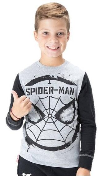 Remera Manga Larga Spiderman Hombre Araña Marvel Para Niños