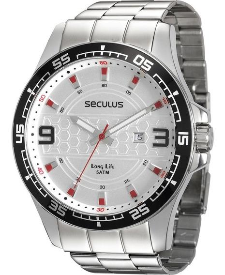 Relógio Seculus Masculino Long Life 28763g0svna1 Prateado