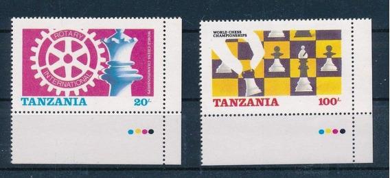 Estampillas Tanzania 1986 Ajedrez 2 Valores Mint Bordes Hoja