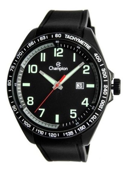 Relógio Masculino Preto Pulseira Borracha Champion Ca31720p
