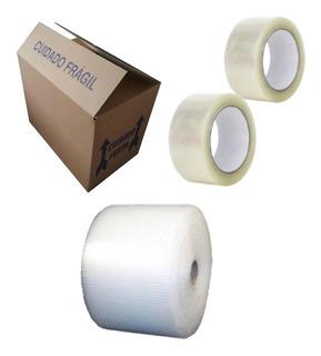 Kit Mudança 20 Caixas + 2 Rolos Fitas + Plastico Bolha