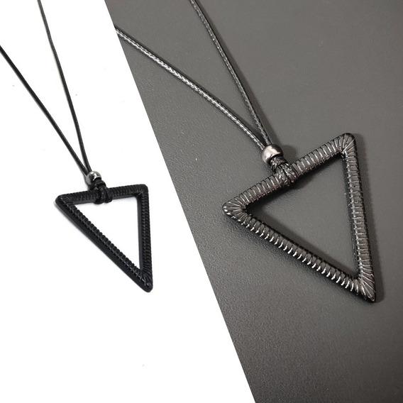 Colar Cordão Masculino Pingente Triângulo Negro