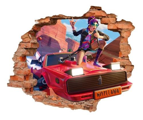 Imagen 1 de 6 de Vinilo Decorativo Fortnite -i24 Sticker Efecto Muro Roto