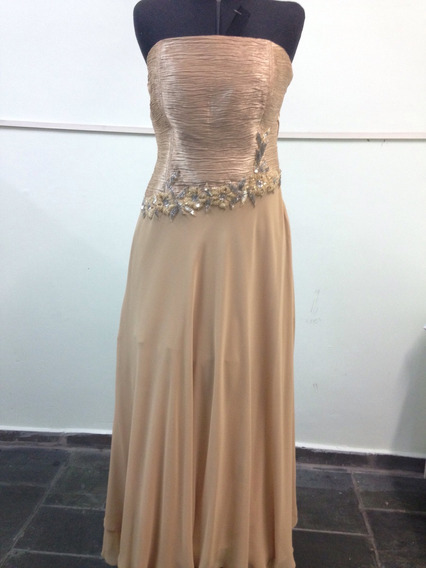 Vestido De Festa Longo Tomara Que Caia Dourado Tam 42