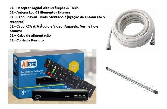 Kit Conversor Digital Antena Externa Cabo Montado